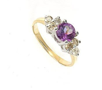 3B: 1 ctw. Amethyst & Diamond 10K Gold Ring RGS-549