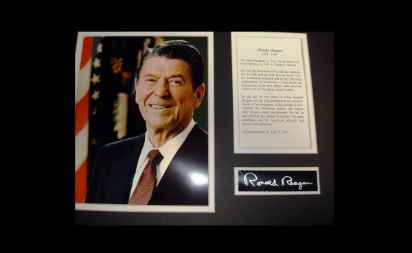 1J: 12x16 Framed Ronald Regan w/ fascimilie signature