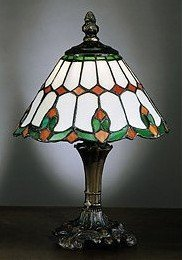 3A: Red, Green Tiffany-Style Bedside Lamp