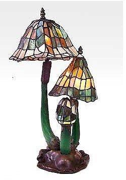 4A: Tiffany Style Three Mushroom Lamp