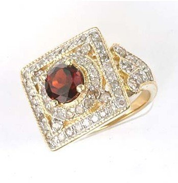1C: 3 ctw. Garnet & Diamond Solid 10K Yellow Gold Ring