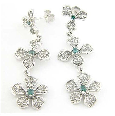 2C: 2ctw Blue & White Diamond Chandelier Earrings in 14
