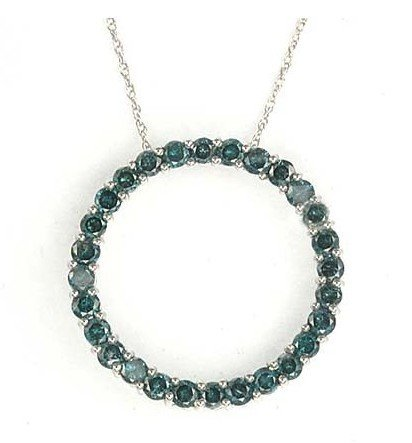 3C: 2ctw. Blue Diamond White Gold Circle-Of-Love Neckla