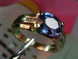 3Z: Rare Solitaire Fancy Color SAPPHIRE & DIAMOND 14kt