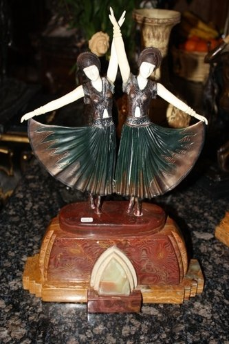3: Signed Bronze & Ivory Sisters Chiparus
