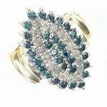 385P: 2 ctw. Blue & White Diamond 10K Gold Ring