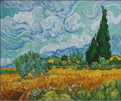 4K: Van Gogh - Wheat Field with Cypresses