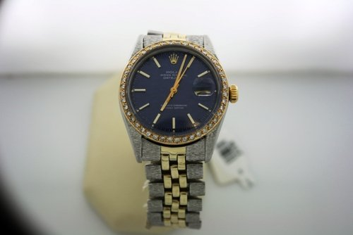 320Z: Gents 2 Tone Date Just Bezel Rolex