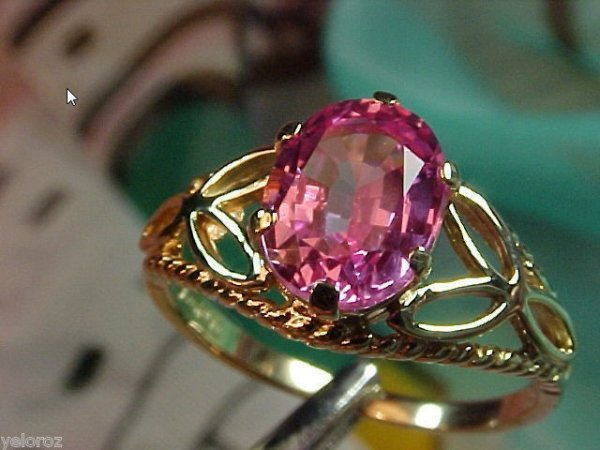 2J: Rare Color Hot Pink Solitaire SAPPHIRE 14kt Ring