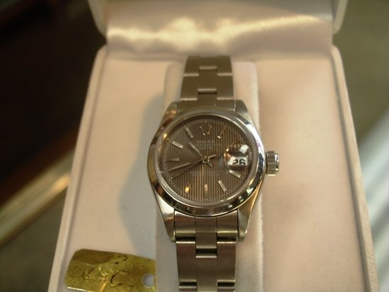 115Z: Ladies Stainless Oyster Perpetual Date Rolex