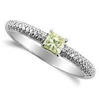 2A: 0.55 Carat Princess cut Diamond Ring in 18k White G