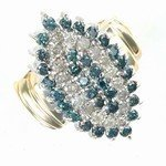 234A: 2 ctw. Blue & White Diamond 10K Gold Ring