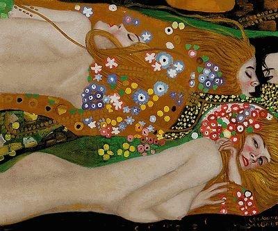 4B: Klimt - Water Serpents II Hand painted oil reproduc