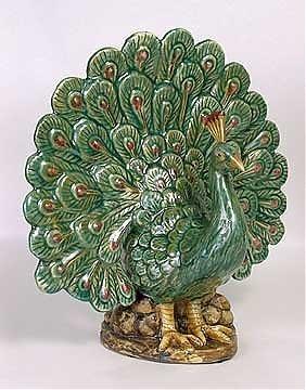 4C: Majolica-style peacock vase. Vase located behind pe