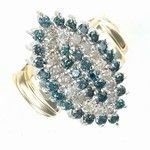 385P: 2 ctw. Blue & White Diamond 10K Gold Ring
