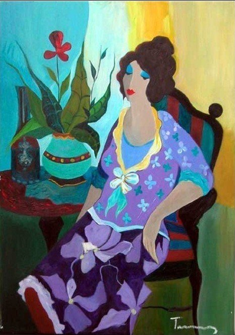 "1L: Original Tarkay Oil on Canvas ""Violet"""