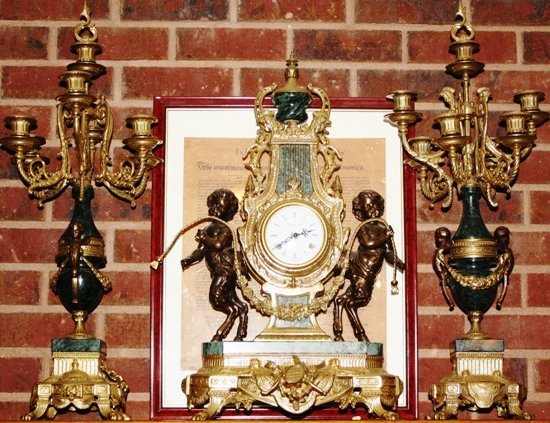 1: Louis XV Clock and Candleabra Set