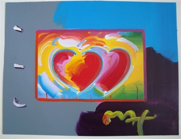 """2L: Original Peter Max """"Two Hearts"""""""