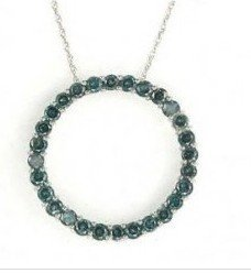1: 1: 2 ctw. Blue Diamond & 10K White Gold Circle-Of-Lo
