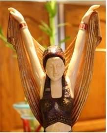 928: 217A: Signed Bronze & Ivory Deco Book Salome Chipa