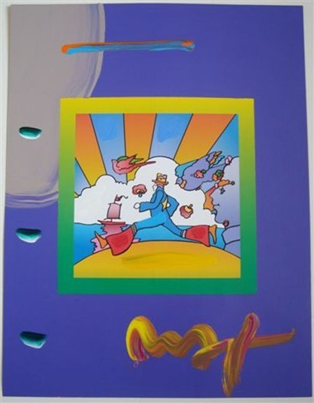 "7L: Original Peter Max ""Cosmic Runner with Sun"""