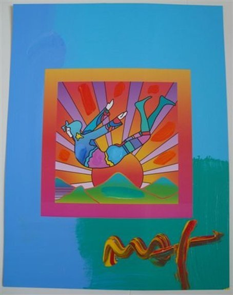 "8L: Original Peter Max ""Cosmic Flyer with Sun"""