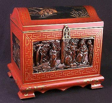 54: Hand Painted & Carved Chinese Box