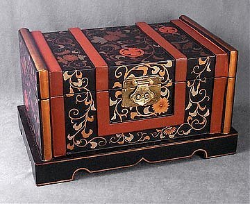 55: Handpainted Floral Scroll Work Chest
