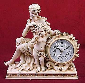 65: Ivory Finish Cupid & Lady Clock