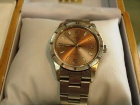 2654: 120Z: Mens Stainless Air King Rolex Copper Dial