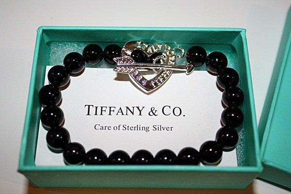 210X: Sterling silver Tiffany Black Bead Bracelet