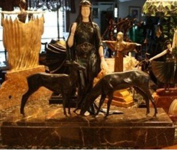 220D: Signed Bronze & Ivory Deco Book Deer Chiparus