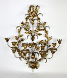 Painted & gilt metal candle wall sconce