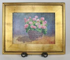 Oil on canvas of still life hydrangeas in pot