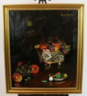 Oil on canvas still life with fruit Blanche Hamilton