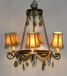6-arm chandelier with swags