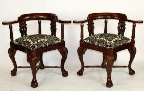 Pair Chippendale Corner Chairs In Mahogany