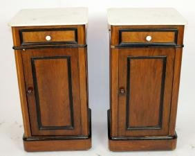 Pair French Napoleon III chevets with marble