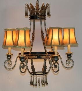 Empire style 6-arm chandelier