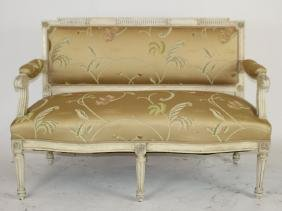 Louis XVI painted bench upholstered in silk