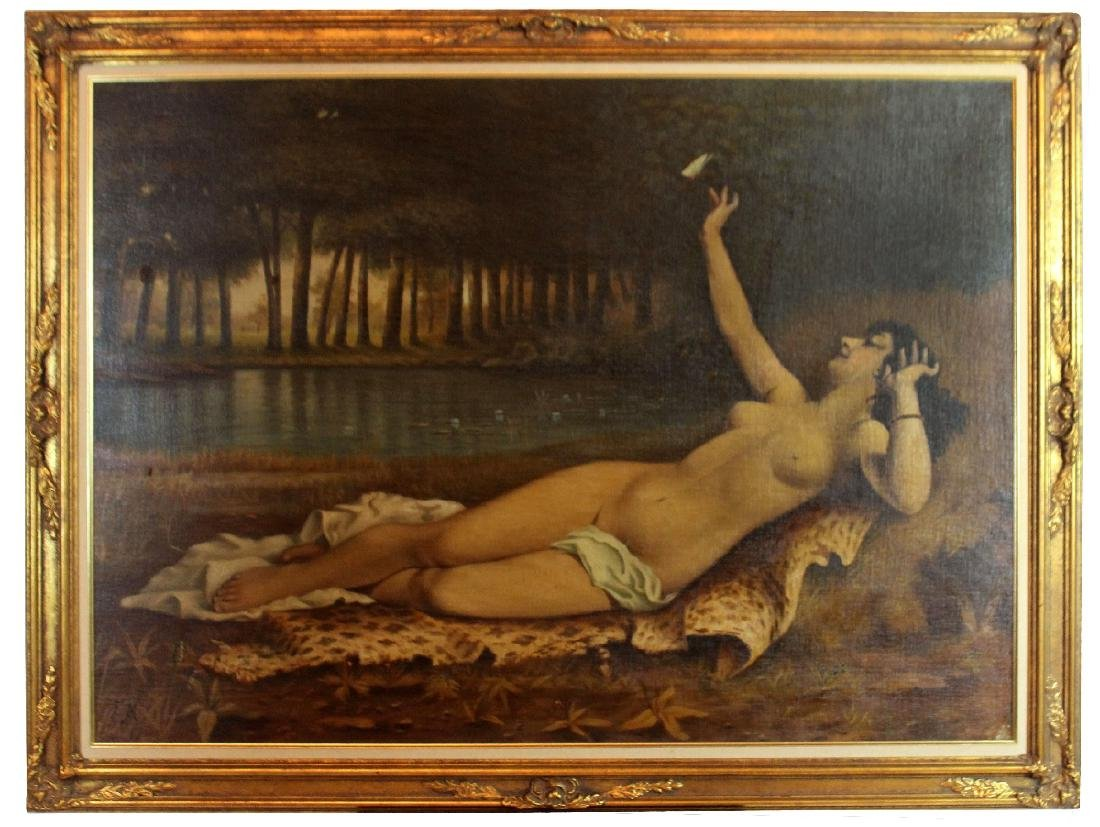 Oil on canvas nude in forest with butterfly