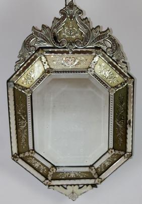 Antique Venetian octagonal mirror