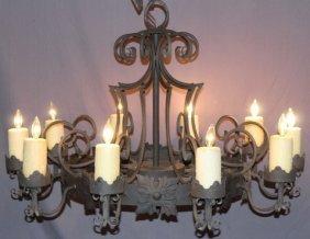 10 arm iron Gothic style chandelier