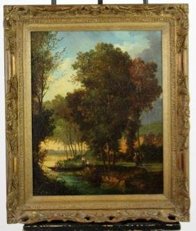 Oil on board depicting landscape