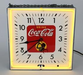 Vintage Coca-Cola neon clock in metal case