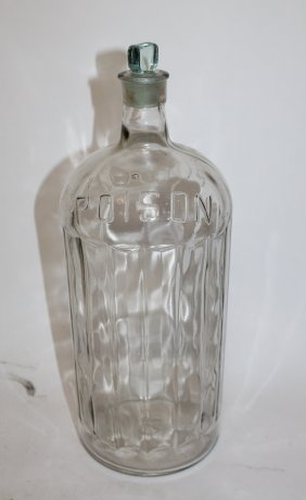 Antique French glass 'Poison' apothecary bottle