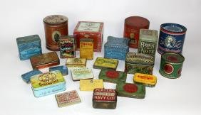 Grouping of 24 vintage tobacco tins