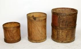 Set of 3 French industrial soap bins