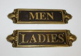 Bronze men's & ladies restroom plaques