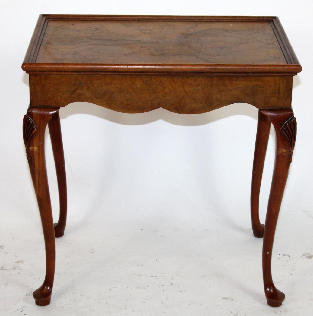 Baker Queen Anne style side table in burl walnut